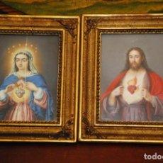 Arte: INCREÍBLE PAREJA DE ANTIGUAS PINTURAS RELIGIOSAS SIGLO XIX. Lote 156079014