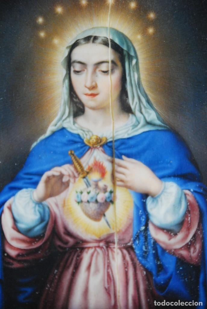 Arte: INCREÍBLE PAREJA DE ANTIGUAS PINTURAS RELIGIOSAS SIGLO XIX - Foto 2 - 156079014