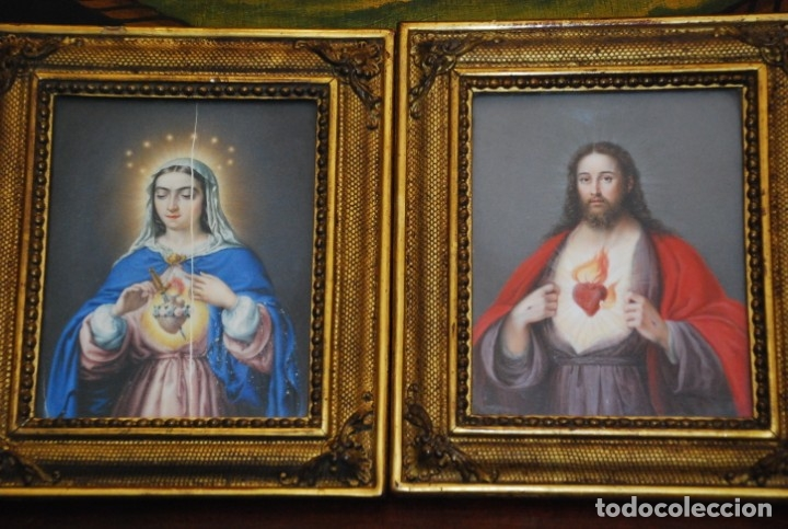 Arte: INCREÍBLE PAREJA DE ANTIGUAS PINTURAS RELIGIOSAS SIGLO XIX - Foto 4 - 156079014