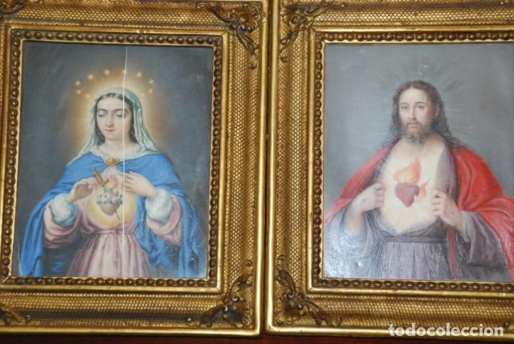 Arte: INCREÍBLE PAREJA DE ANTIGUAS PINTURAS RELIGIOSAS SIGLO XIX - Foto 3 - 156079014