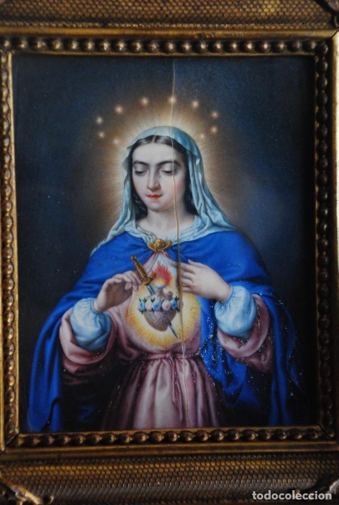 Arte: INCREÍBLE PAREJA DE ANTIGUAS PINTURAS RELIGIOSAS SIGLO XIX - Foto 6 - 156079014