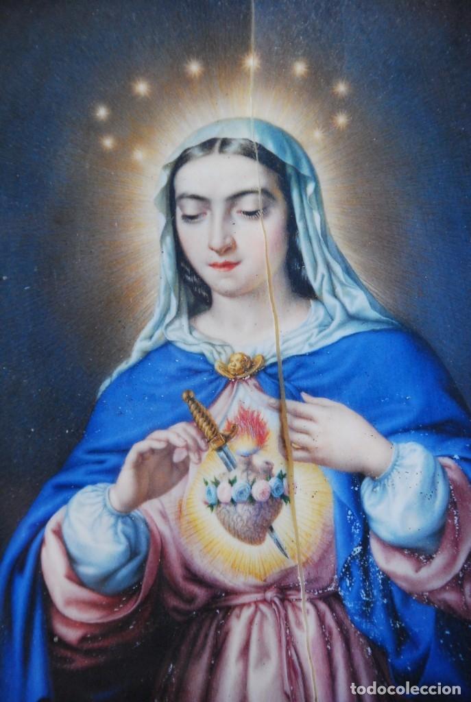 Arte: INCREÍBLE PAREJA DE ANTIGUAS PINTURAS RELIGIOSAS SIGLO XIX - Foto 7 - 156079014