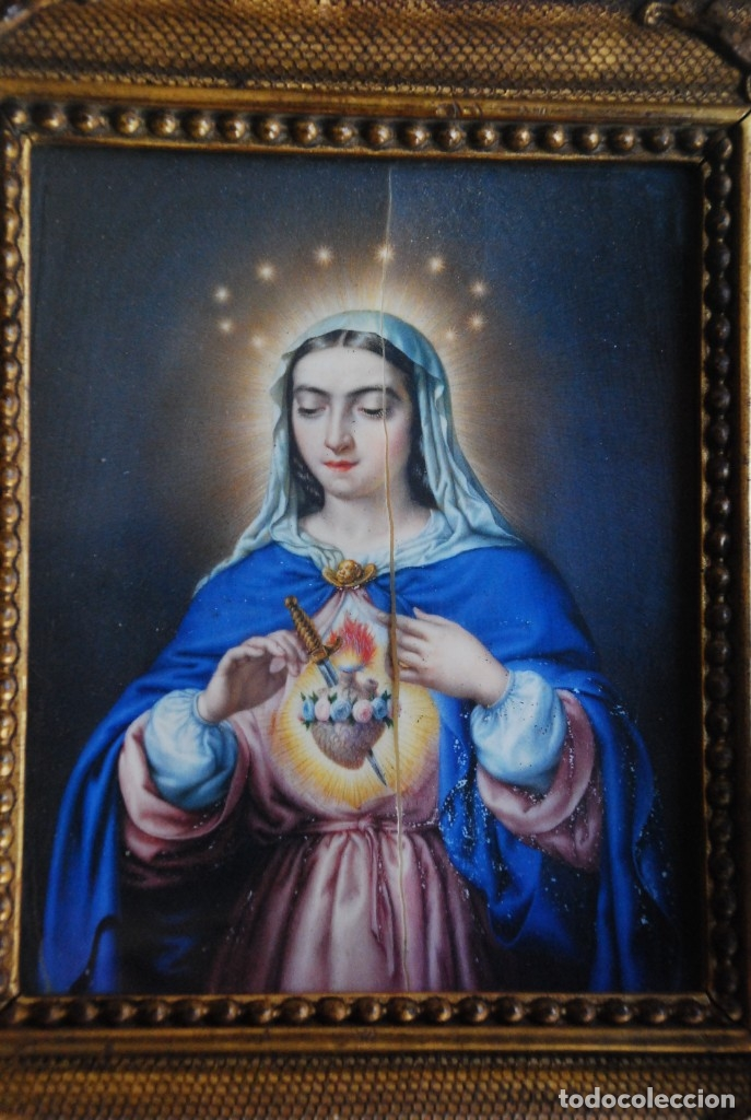 Arte: INCREÍBLE PAREJA DE ANTIGUAS PINTURAS RELIGIOSAS SIGLO XIX - Foto 8 - 156079014