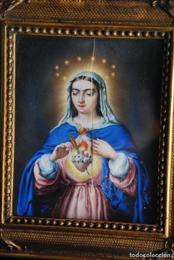 Arte: INCREÍBLE PAREJA DE ANTIGUAS PINTURAS RELIGIOSAS SIGLO XIX - Foto 10 - 156079014