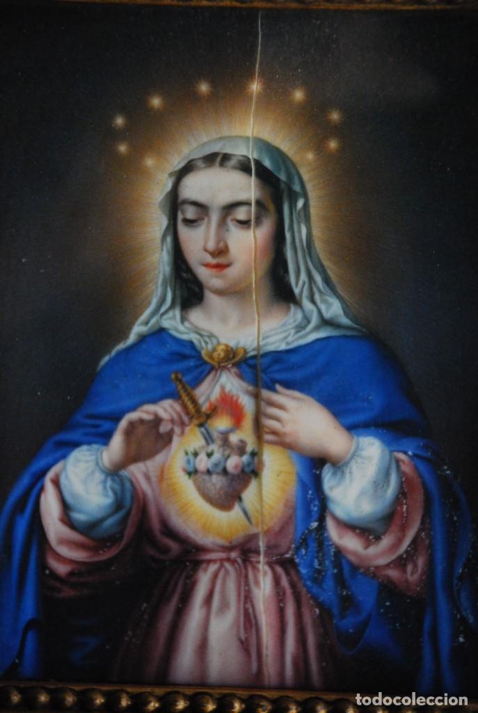 Arte: INCREÍBLE PAREJA DE ANTIGUAS PINTURAS RELIGIOSAS SIGLO XIX - Foto 12 - 156079014