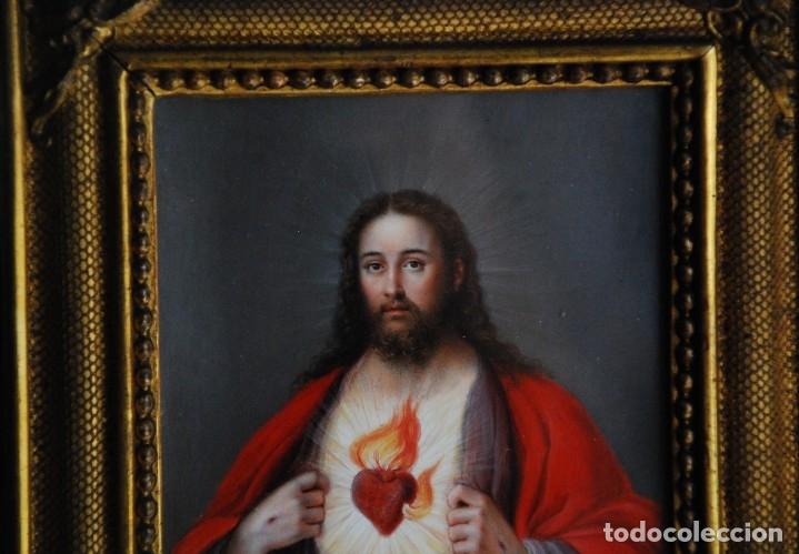 Arte: INCREÍBLE PAREJA DE ANTIGUAS PINTURAS RELIGIOSAS SIGLO XIX - Foto 16 - 156079014