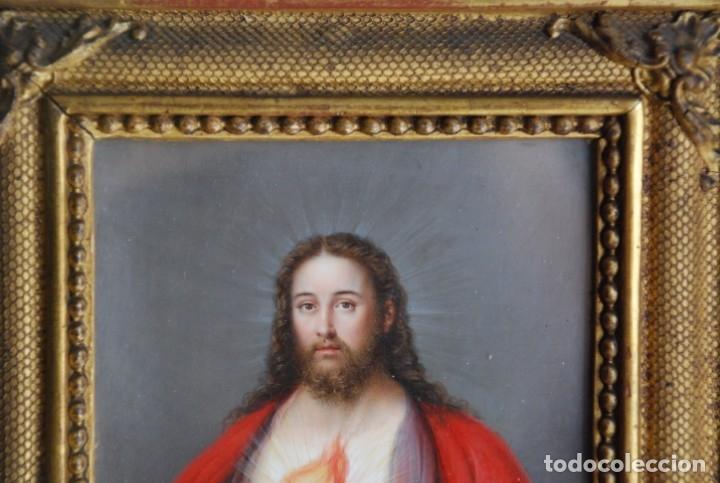 Arte: INCREÍBLE PAREJA DE ANTIGUAS PINTURAS RELIGIOSAS SIGLO XIX - Foto 18 - 156079014