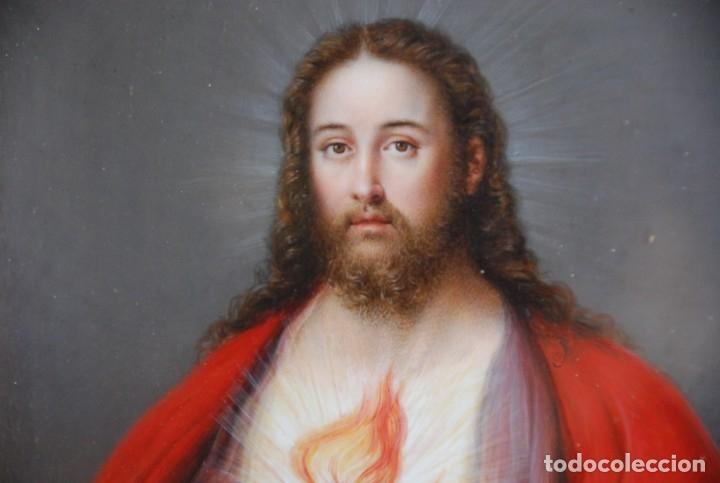Arte: INCREÍBLE PAREJA DE ANTIGUAS PINTURAS RELIGIOSAS SIGLO XIX - Foto 21 - 156079014
