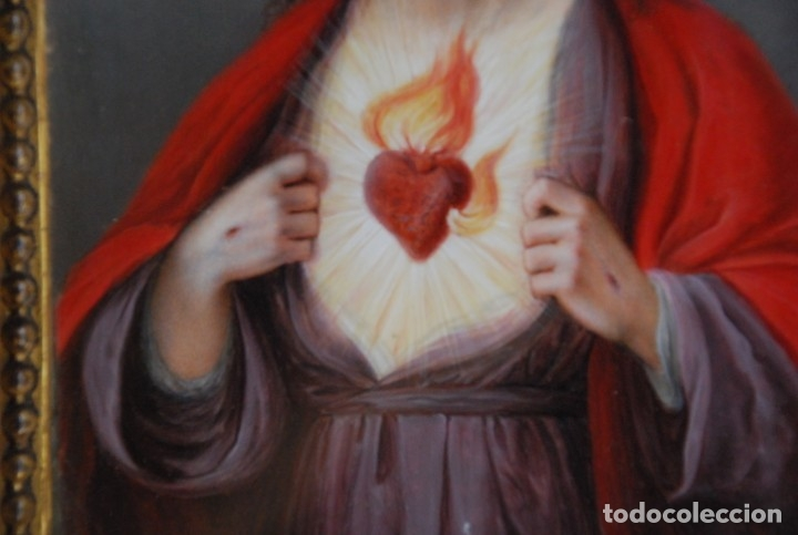 Arte: INCREÍBLE PAREJA DE ANTIGUAS PINTURAS RELIGIOSAS SIGLO XIX - Foto 24 - 156079014