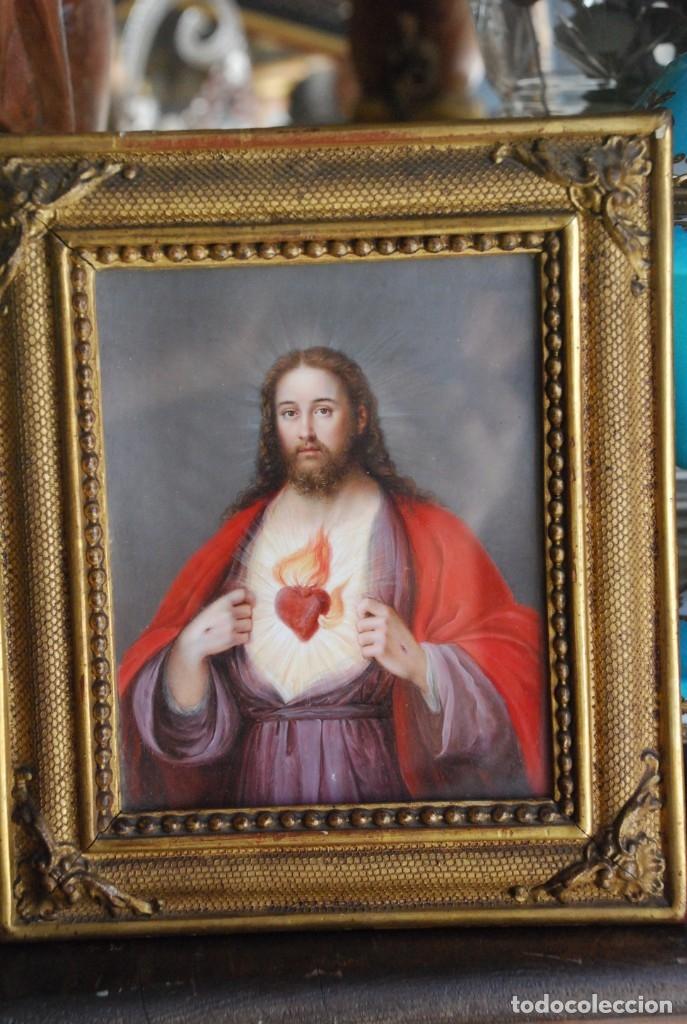 Arte: INCREÍBLE PAREJA DE ANTIGUAS PINTURAS RELIGIOSAS SIGLO XIX - Foto 25 - 156079014