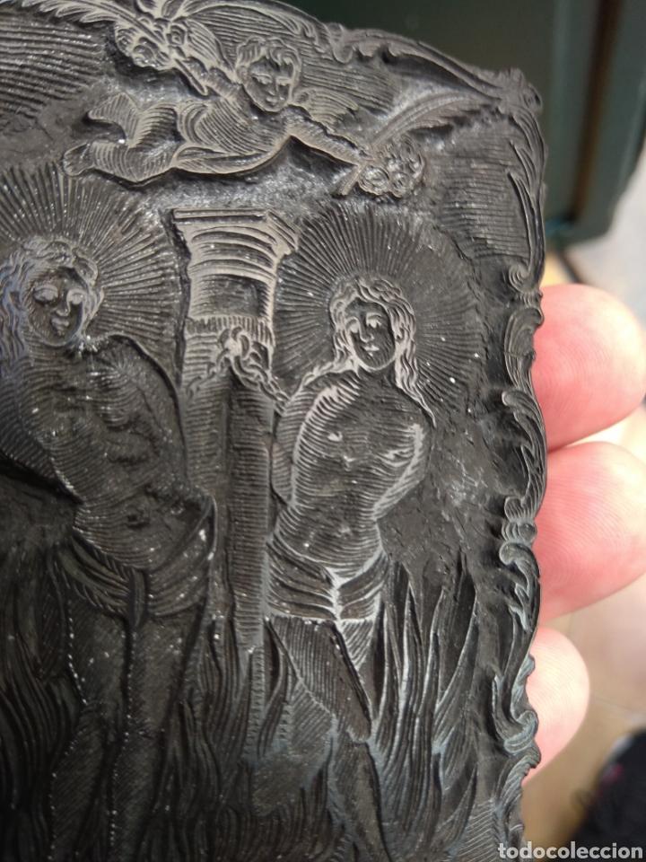 Arte: Sello de Estampación Religioso XVIII - Santos Mártires Marciano y Luciano - Escrito y Fechado 1791 - Foto 6 - 156394602