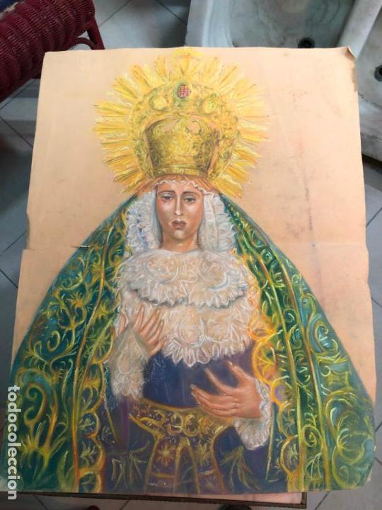 PINTURA SOBRE PAPEL VIRGEN CONCEPCION - SEMANA SANTA DE SEVILLA - MEDIDA 65X50 CM - RELIGIOSO (Arte - Arte Religioso - Pintura Religiosa - Otros)