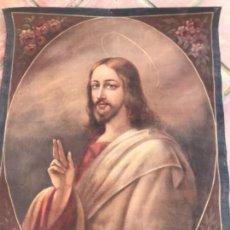 Arte: TAPIZ PINTADO AL ÓLEO , SAGRADO CORAZÓN 1920'S ESCENA RELIGIOSA JESUCRISTO. . Lote 156524230