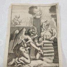 Arte: PRECIOSO GRABADO DEL ANGEL DE LA GUARDIA,S. XVIII. Lote 156614378