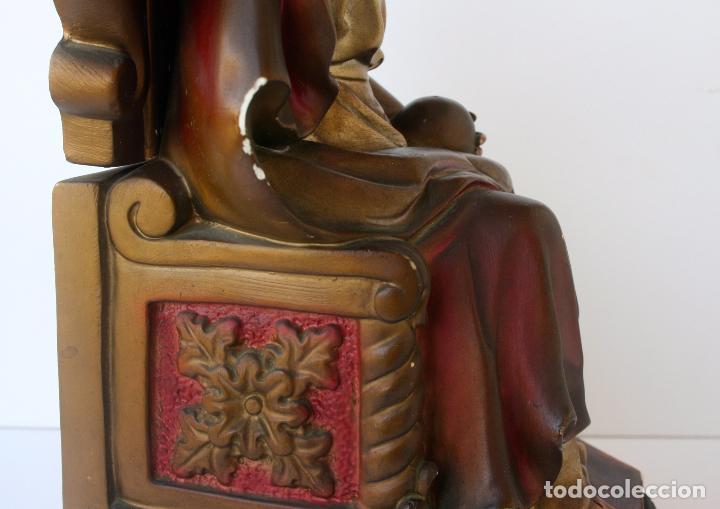 Arte: Sagrado Corazón de Jesús entronizado de estuco policromado con ojos de cristal 52 cms - Foto 9 - 156714334
