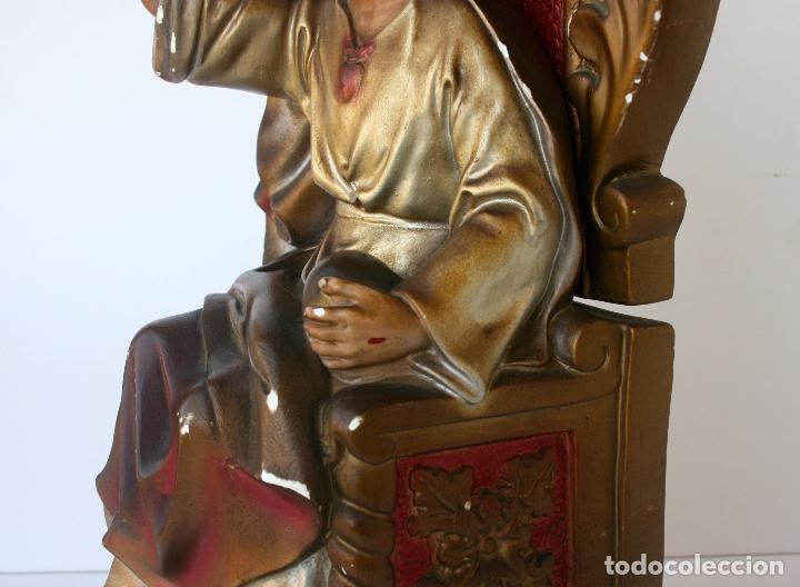 Arte: Sagrado Corazón de Jesús entronizado de estuco policromado con ojos de cristal 52 cms - Foto 14 - 156714334