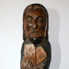 Arte: ANTIGUA TALLA RELIGIOSA DE MADERA - SANTO EVANGELISTA APOSTOL 33 CMS. Lote 156715066