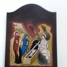 Arte: ICONO MEDIADOS S. XX. FIRMADO. RESURRECCIÓN DE CRISTO. PINTADO SOBRE MADERA. Lote 156813918