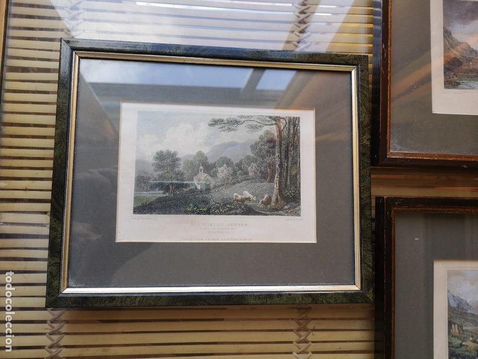 Arte: LOTE DE TRES LITOGRAFÍAS ANTIGUAS ORIGINALES BRITÁNICAS ENMARCADAS - Foto 6 - 156888230