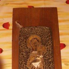 Arte: CUADRO DE RELIGIOSO MADERA Y CERAMICA. Lote 156895352