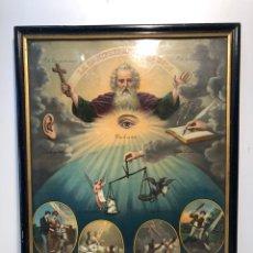 Arte: CROMOLITOGRAFIA DE LA OMNIPRESENCIA DE DIOS ANTIGUA... Lote 157000885