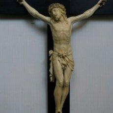 Arte: ESPECTACULAR CRISTO MARFIL FRANCIA SIGLO XVIII GRAN TAMAÑO CRUZ MADERA EBANO. Lote 157139902