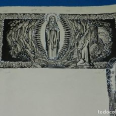 Arte: (M) DIBUJO ORIGINAL GOIG - GOZOS AMICS DEL SANTUARIS BARCELONA 48 X 32,5 CM , SEÑALES DE USO NORMAL. Lote 157210526