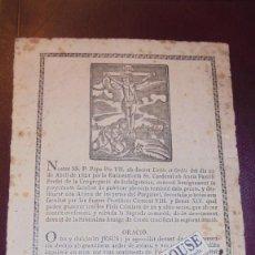 Arte: ANTIGUO GRABADO S. XIX P.PAPA PIO VII AB DECRET URBIS ET ORBIS ROMAE 1821 TYPIS SALVIONI , VICH PER . Lote 157700394