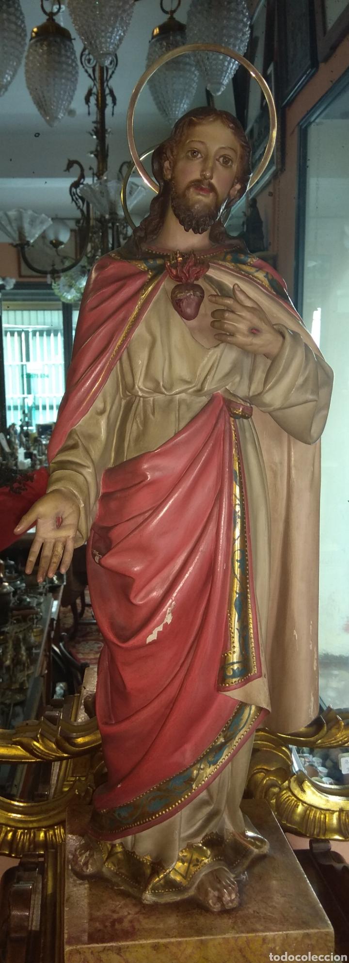 ESCULTURA SAGRADO CORAZÓN DE JESÚS XIX MADERA (Arte - Arte Religioso - Escultura)