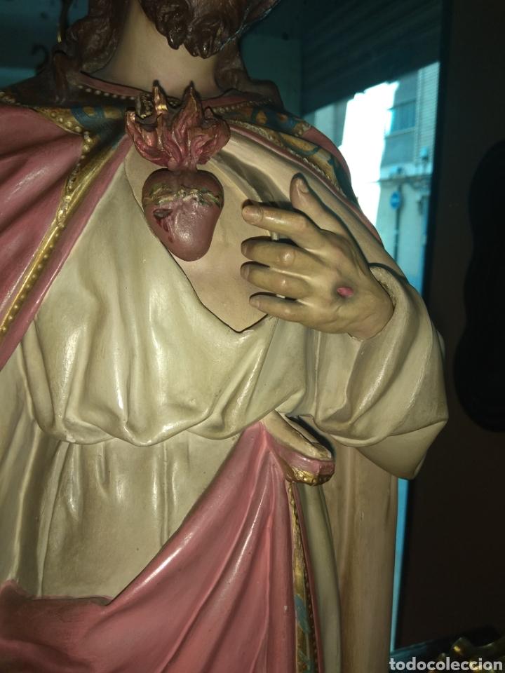 Arte: Escultura Sagrado Corazón de Jesús XIX Madera - Foto 8 - 147229958