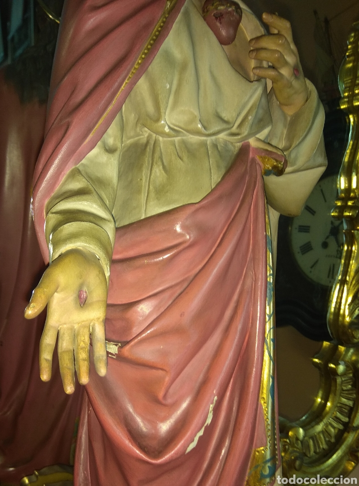 Arte: Escultura Sagrado Corazón de Jesús XIX Madera - Foto 9 - 147229958
