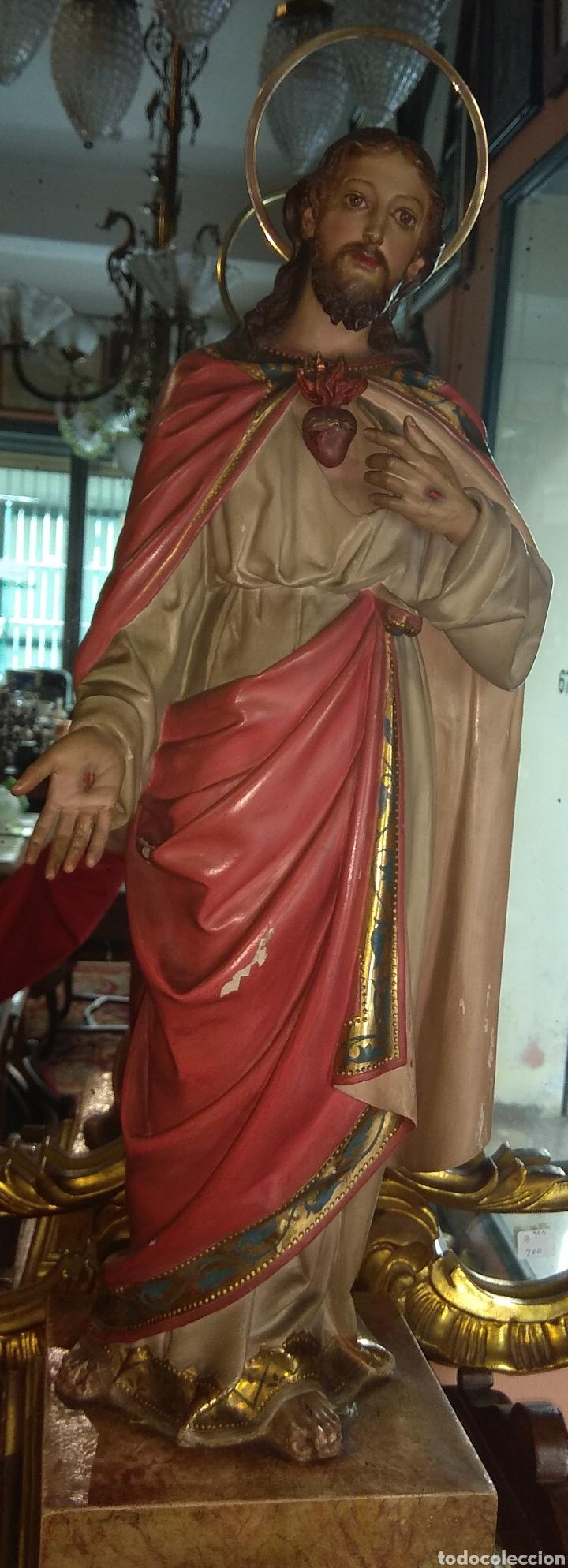 Arte: Escultura Sagrado Corazón de Jesús XIX Madera - Foto 11 - 147229958