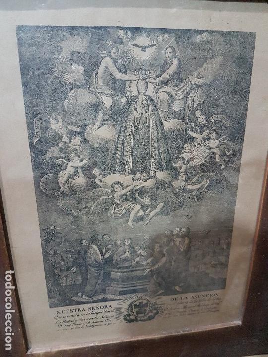 Arte: ANTIGUA LITOGRAFIA DE LA VIRGEN DE LA ASUNCION ELCHE ENMARCADA SG. XIX. 1797 - Foto 3 - 157808966