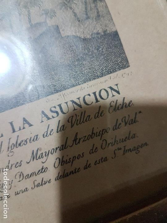 Arte: ANTIGUA LITOGRAFIA DE LA VIRGEN DE LA ASUNCION ELCHE ENMARCADA SG. XIX. 1797 - Foto 6 - 157808966