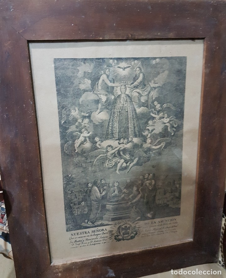 Arte: ANTIGUA LITOGRAFIA DE LA VIRGEN DE LA ASUNCION ELCHE ENMARCADA SG. XIX. 1797 - Foto 5 - 157808966