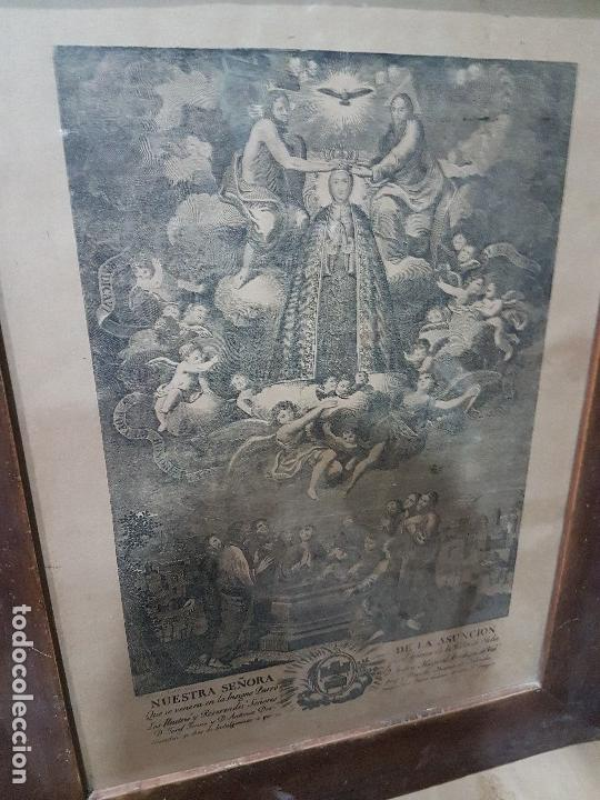 ANTIGUA LITOGRAFIA DE LA VIRGEN DE LA ASUNCION ELCHE ENMARCADA SG. XIX. 1797 (Arte - Arte Religioso - Litografías)