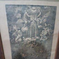 Arte: ANTIGUA LITOGRAFIA DE LA VIRGEN DE LA ASUNCION ELCHE ENMARCADA SG. XIX. 1797. Lote 157808966
