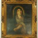 Arte: OLEO SOBRE TELA. VIRGEN MARÍA DOLOROSA S XVIII EN MARCO DE ORIGEN. ESCUELA ESPAÑOLA . Lote 157907230