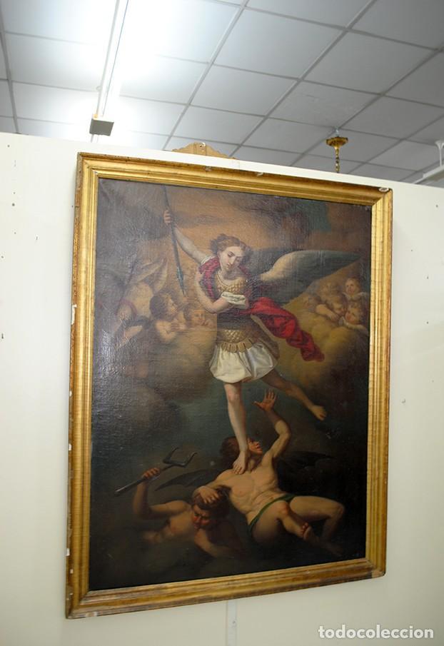 Arte: ÓLEO SOBRE LIENZO ARCÁNGEL SAN MIGUEL, S.XVIII - Foto 2 - 158143386