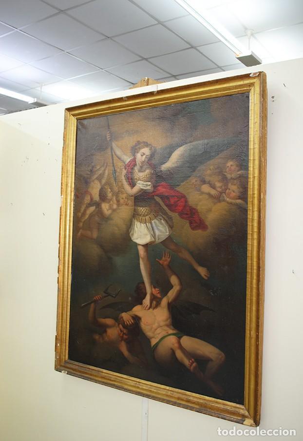 Arte: ÓLEO SOBRE LIENZO ARCÁNGEL SAN MIGUEL, S.XVIII - Foto 3 - 158143386