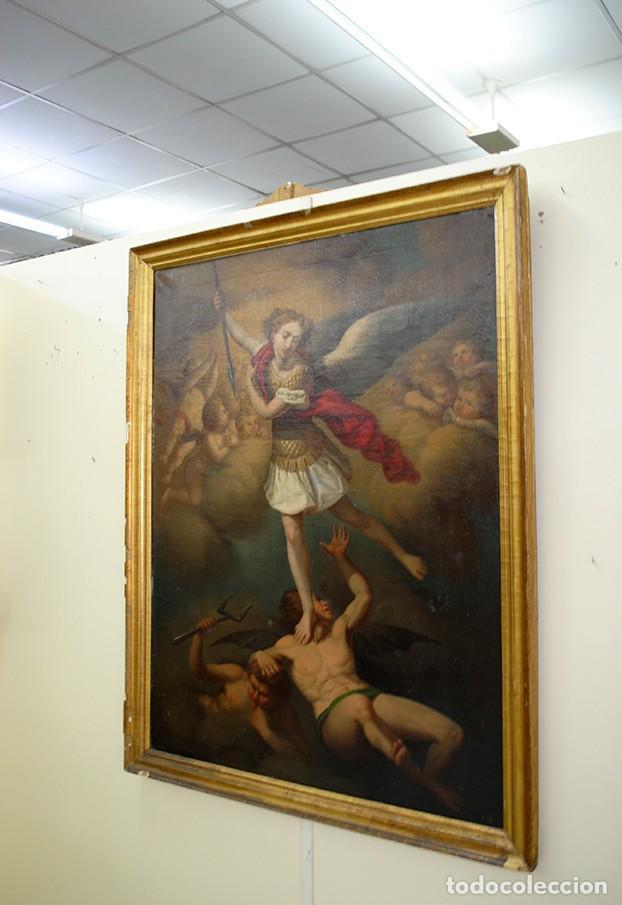 Arte: ÓLEO SOBRE LIENZO ARCÁNGEL SAN MIGUEL, S.XVIII - Foto 4 - 158143386