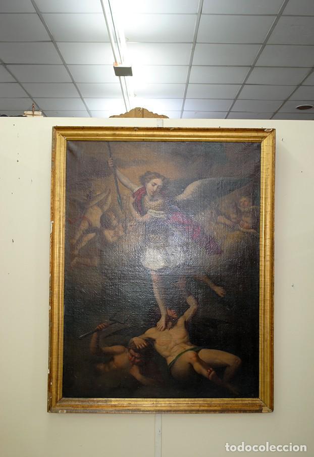 Arte: ÓLEO SOBRE LIENZO ARCÁNGEL SAN MIGUEL, S.XVIII - Foto 5 - 158143386