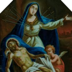 Arte: ESCUELA ESPAÑOLA, S.XVIII. PIEDAD. ÓLEO BAJO CRISTAL SIGLO XVIII. 41 X 31 CM.. Lote 122657356