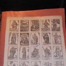 Arte: ANTIGUO GRABADO S. XVIII-XIX HOJA CON 25 GRABADOS DE DIFERENTES SANTOS PROBABLEMENTE SERIAN ESTAMPAS. Lote 158444438