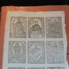 Arte: ANTIGUO GRABADO S. XVIII-XIX HOJA CON 9 GRABADOS DE DIFERENTES SANTOS PROBABLEMENTE SERIAN ESTAMPAS. Lote 158444838