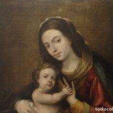 Arte: VIRGEN CON NIÑO DE LA ESCUELA ANDALUZA DEL SIGLO XVII EN TAMAÑO NATURAL. ÓLEO /LIENZO. 103 X 83 CM.. Lote 158476546