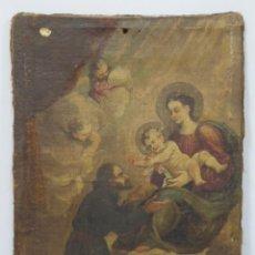 Arte: APARICION DE LA VIRGEN CON EL NIÑO JESUS A SAN ANTONIO. OLEO S/ LIENZO. SIGLO XVIII. Lote 158546694