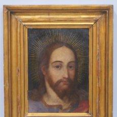 Arte: MAGNIFICO CRISTO SALVATOR MUNDI. OLEO S/ COBRE. ESCUELA FLAMENCA. SIGLO XVII. Lote 158549562