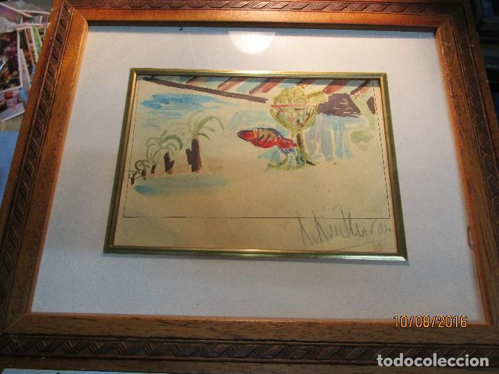 ROBERTO RUIZ MORANTE ANTIGUA ACUARELA ORIGINAL PLAYA CHIRINGUITO ALICANTE 1985 (Arte - Arte Religioso - Pintura Religiosa - Acuarela)