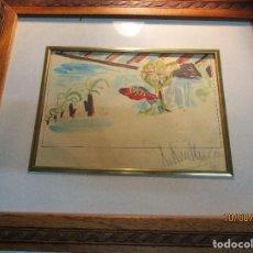 Arte: ROBERTO RUIZ MORANTE ANTIGUA ACUARELA ORIGINAL PLAYA CHIRINGUITO ALICANTE 1985. Lote 158550922